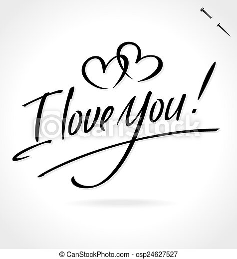 I LOVE YOU hand lettering (vector) - csp24627527