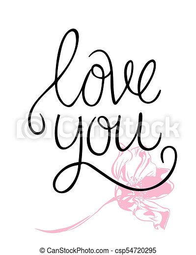 I love you. i heart you. valentines day calligraphy card. hand drawn ...