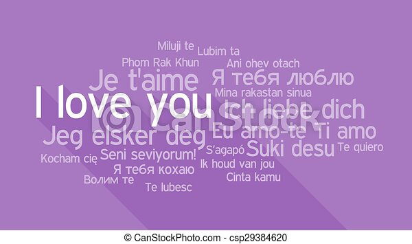 I LOVE YOU in different languages, word tag cloud - csp29384620