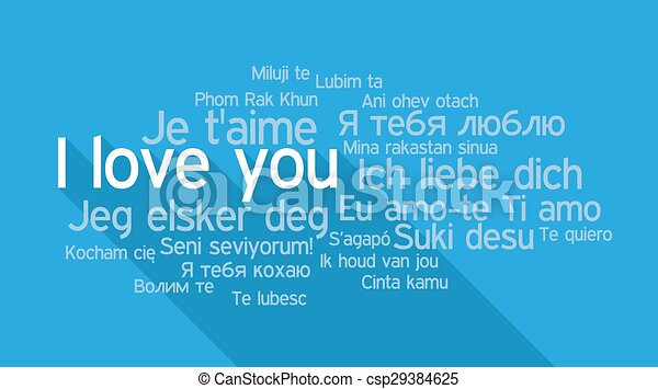 I LOVE YOU in different languages, word tag cloud - csp29384625