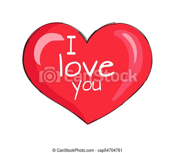 I Love You Inscription On Red Heart Shape Symbol I Love You