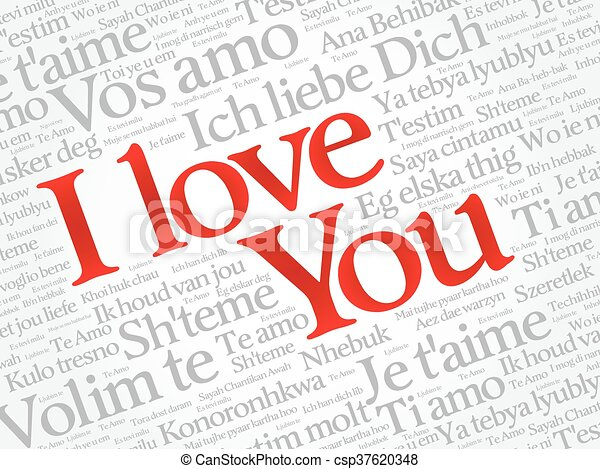 I LOVE YOU, Love word cloud - csp37620348
