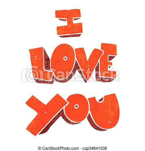 I Love You Retro Cartoon Symbol I Love You Freehand Retro Cartoon