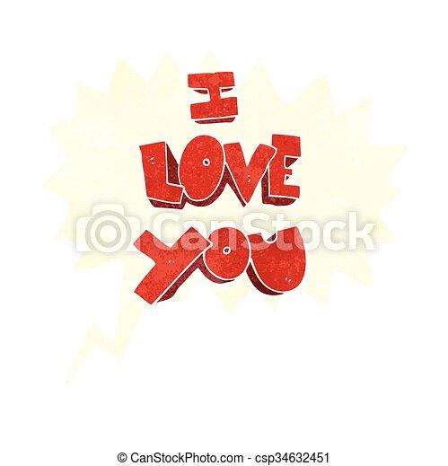 I Love You Retro Speech Bubble Cartoon Symbol I Love You Freehand