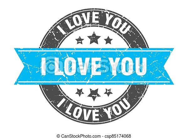 i love you round stamp with ribbon. label sign - csp85174068