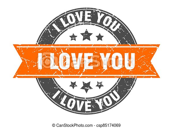 i love you round stamp with ribbon. label sign - csp85174069