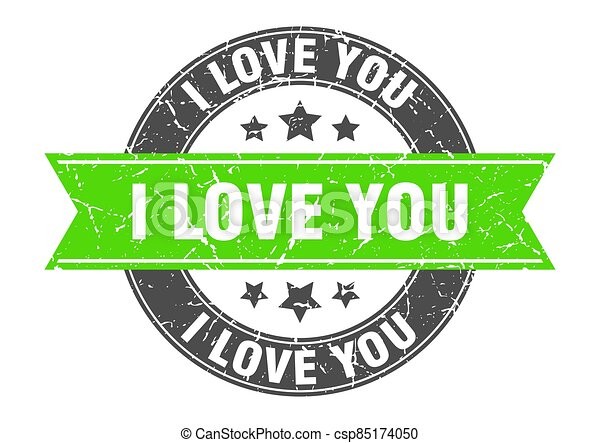 i love you round stamp with ribbon. label sign - csp85174050