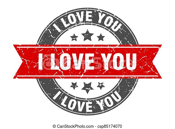 i love you round stamp with ribbon. label sign - csp85174070