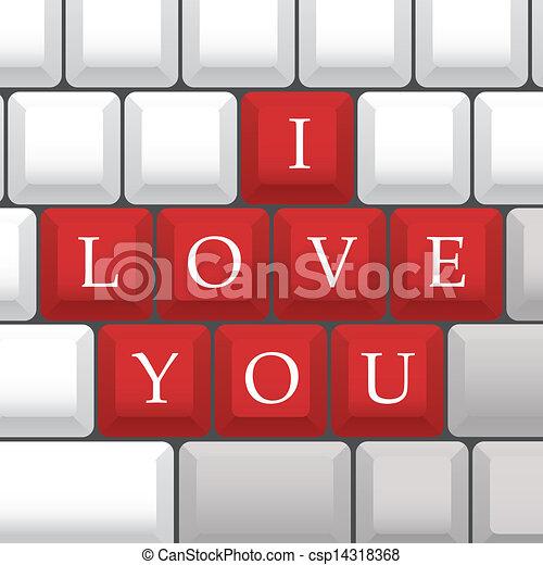 """I Love You"" symbol on PC keys - illustration - csp14318368"