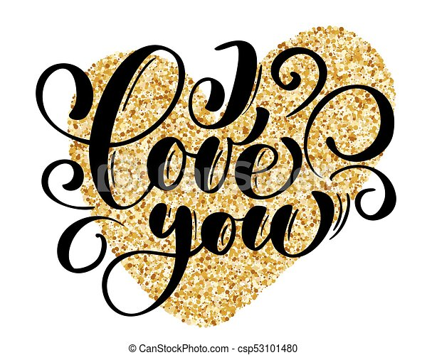 i love you text postcard and gold heart phrase for vector rh canstockphoto com clipart postcard border postcard clipart free