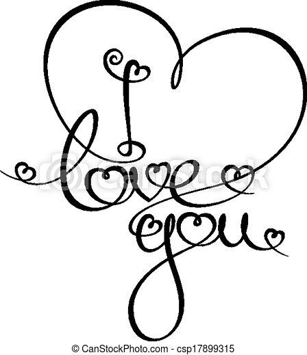 I Love You Custom Handwriting Calligraphic Typography Of I Love