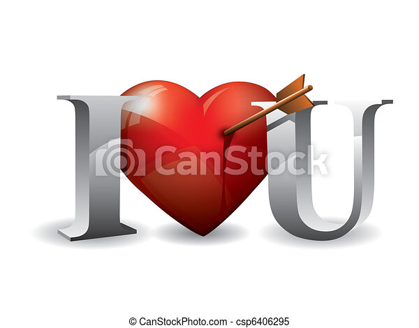 I love you with 3d text and heart - csp6406295