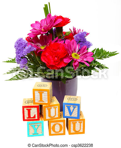I Luv You with Flowers - csp3622238