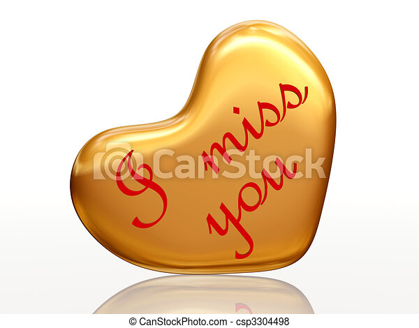 I Miss You In Golden Heart 3d Golden Heart Red Letters Text I