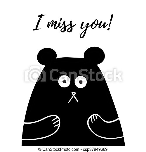 I Miss You Lettering Card With Sweet Teddy Bear T Shirt Design