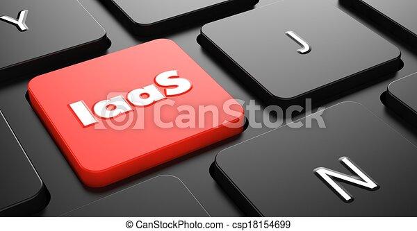 iaas, concepto, button., rojo, teclado - csp18154699