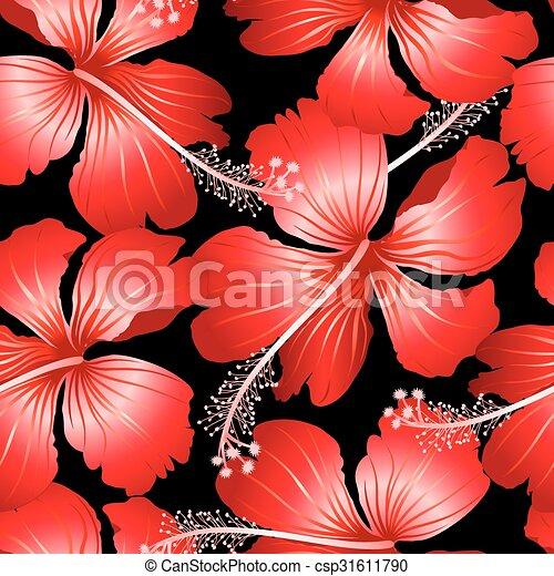 Ibisco Modello Seamless Tropicale Sfondo Nero Fiori Rosso