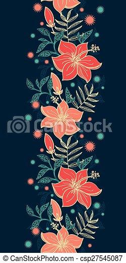 Ibisco Verticale Vibrante Seamless Tropicale Vettore Motivi