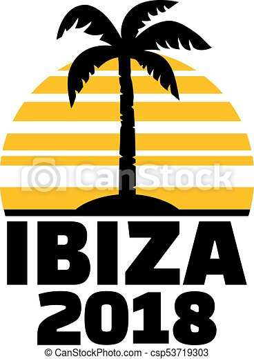 ibiza 2018 palm tree ibiza 2018 with palm tree and sunset vector rh canstockphoto com palm tree vector free palm tree vector image