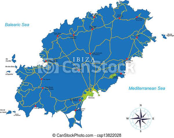 ibiza karta Ibiza, karta. Detaljerad, karta, områden, högt, ibiza, vektor  ibiza karta