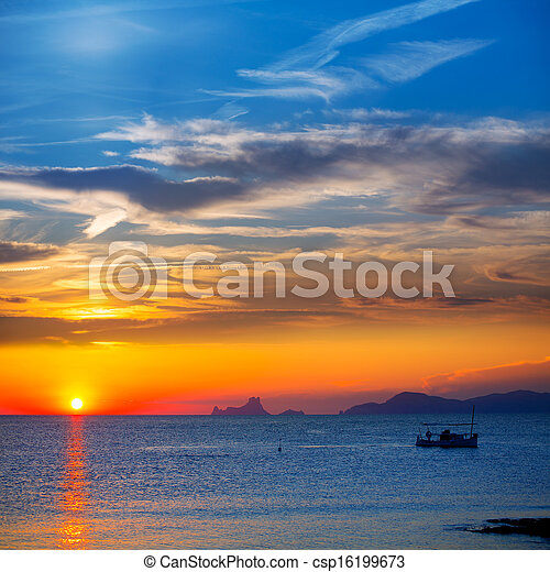 Ibiza sunset Es Vedra view and fisherboat formentera - csp16199673