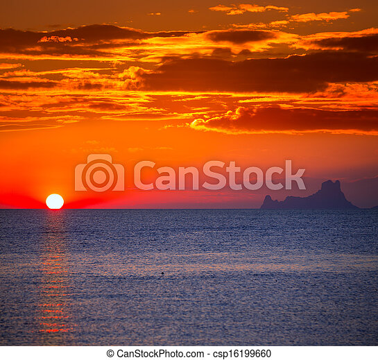Ibiza sunset Es Vedra view from Formentera - csp16199660