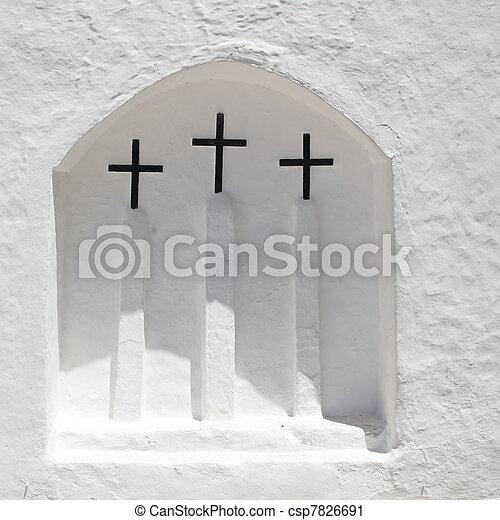 Ibiza white church in Sant Carles Peralta - csp7826691