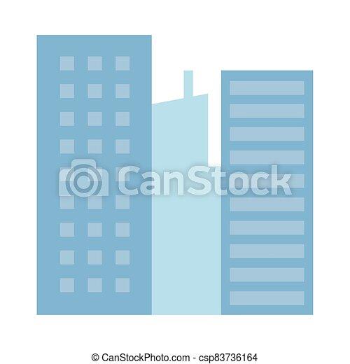 icône, bâtiments, scène urbaine, cityscape - csp83736164