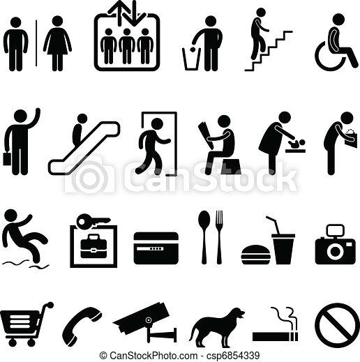 icône, centre commercial, signe, public - csp6854339