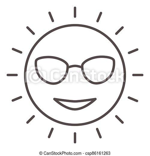 icône, ensoleillé, vecteur, signe, figure, lunettes, mignon, graphics., style, concept, toile, blanc, sourire, contour, design., ligne, icône, concept, mince, croisière, mobile, mer, arrière-plan soleil - csp86161263