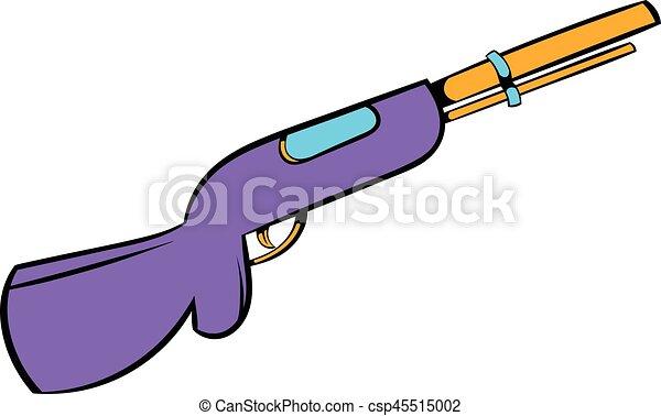 Dessin Fusil De Chasse icône, fusil chasse, dessin animé, chasse, icône. style, chasse