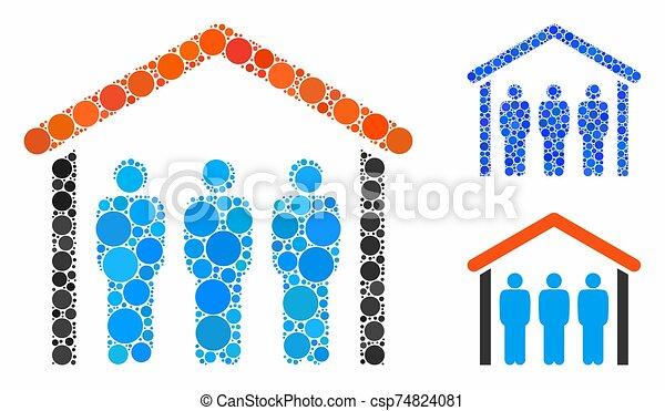 icône, gens, points, mosaïque, cercle, toit, sous - csp74824081