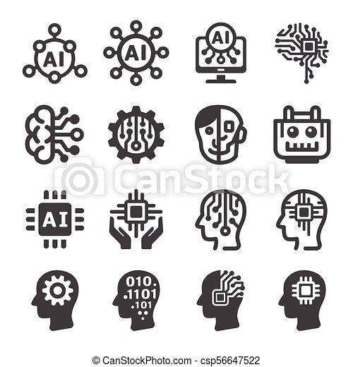 icône, intelligence artificielle - csp56647522