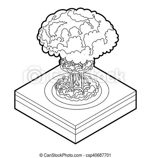 icône, nucléaire, style, explosion, contour - csp40687701