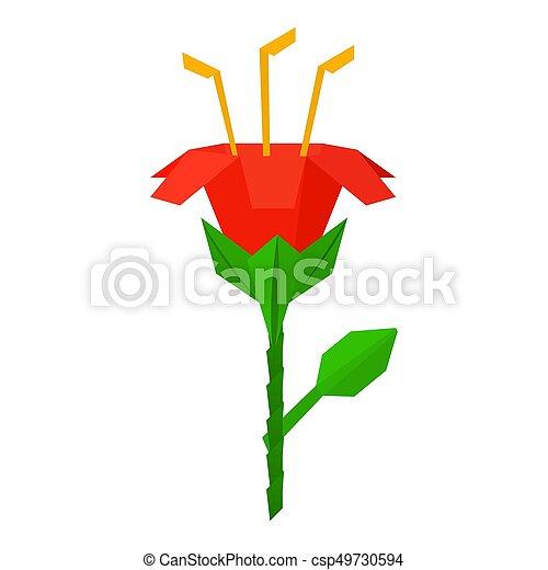 Icône Origami Style Fleur Dessin Animé Toile Fleur