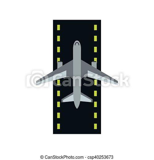 Ic ne plat style avion piste atterrissage plat style - Dessin avion stylise ...