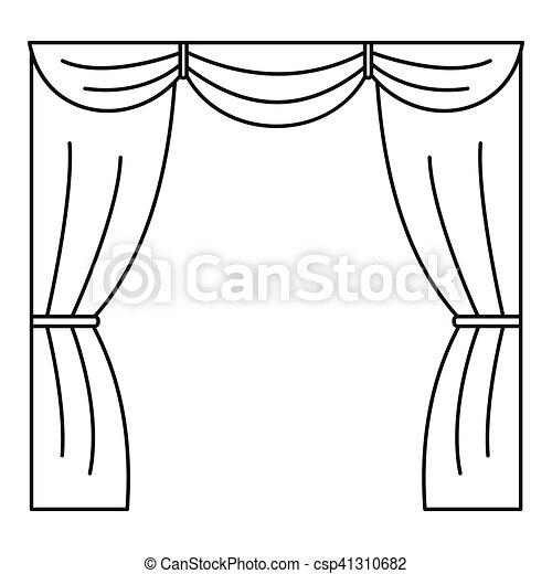 ic ne rideau style contour tape toile contour vecteur search clip art illustration. Black Bedroom Furniture Sets. Home Design Ideas