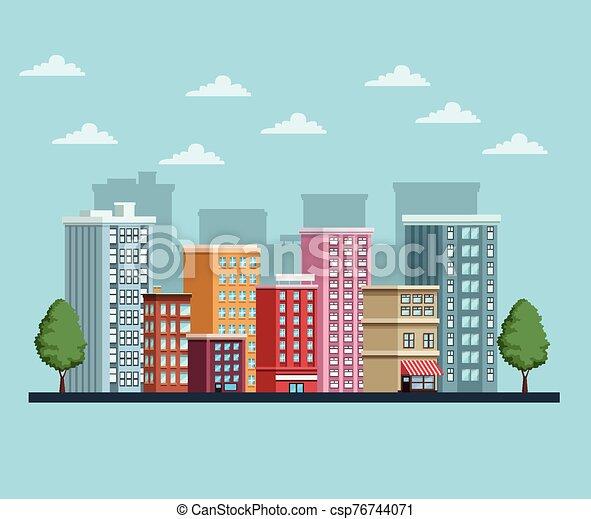 icône, scène, cityscape, bâtiments, urbain - csp76744071