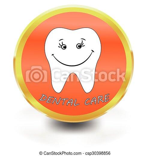 icône, soin, blanc, dentaire, dent - csp30398856