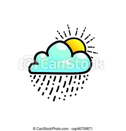 icône, soleil, baisses pluie, nuage, briller - csp46709871