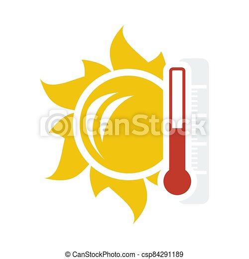 icône, soleil, thermomètre, température, élevé - csp84291189