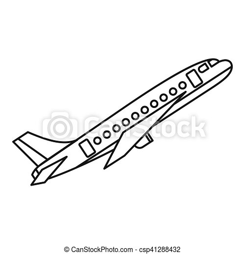 Ic ne style avion contour toile contour illustration vecteur icon ic ne - Dessin avion stylise ...