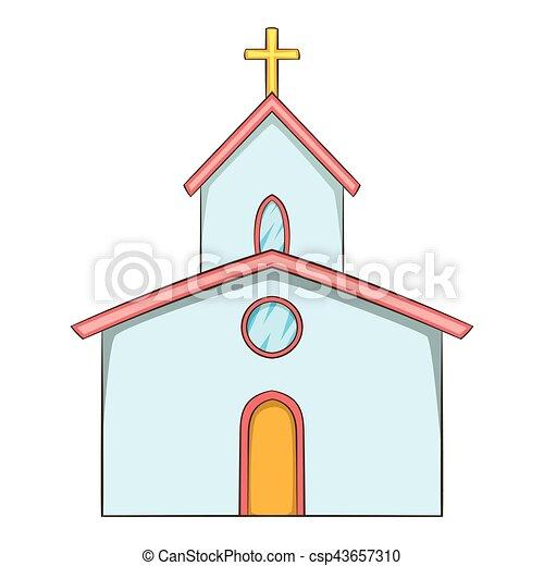 Ic ne style dessin anim glise toile illustration - Eglise dessin ...