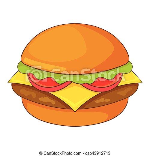 Icone Style Hamburger Dessin Anime Toile Hamburger Illustration Vecteur Conception Icon Dessin Anime Icone Canstock