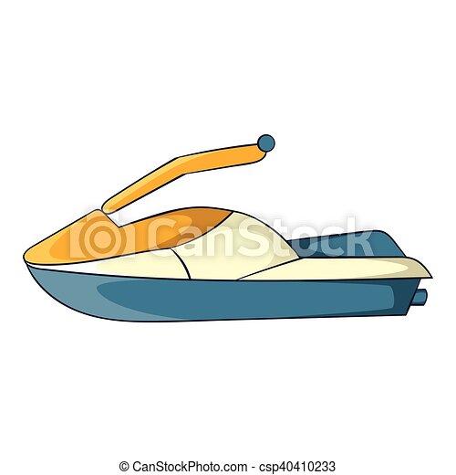 Ic ne style ski dessin anim jet style jet symbole isol maritime arri re plan - Jet ski dessin ...