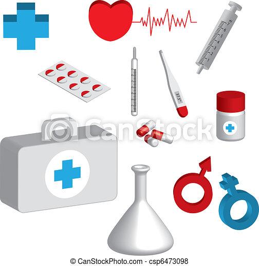 icônes, 3d, monde médical - csp6473098