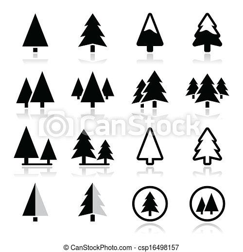 icônes, arbre, ensemble, vecteur, pin - csp16498157