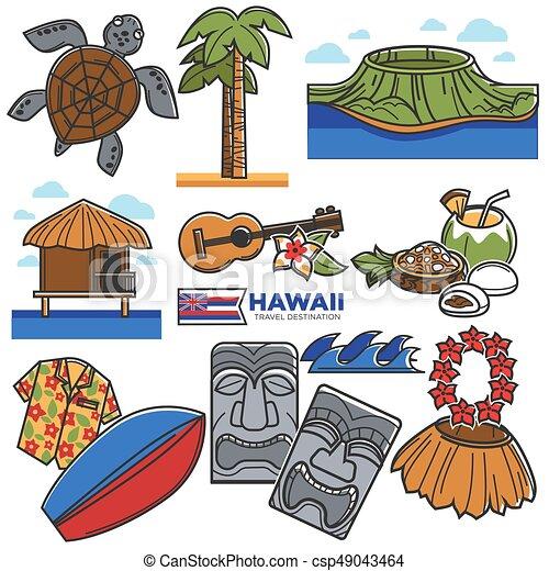 icônes, attractions, destination voyage, hawaï, célèbre, vecteur, tourisme, repères - csp49043464
