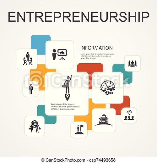 icônes, bâtiment, ligne, association, concept., option, équipe, entrepreneurship, infographic, simple, investisseur, 10, direction - csp74493658