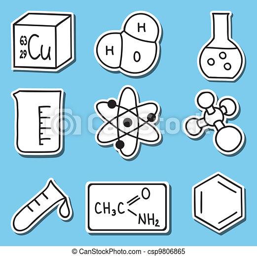 icônes, chimie, -stickers, impression, illustration - csp9806865